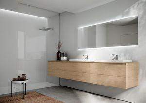 Cubik comp.16, Armoire de toilette avec deux lavabos, avec un design essentiel
