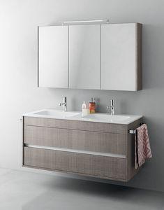 Duetto comp.14, Meuble de salle de bain monobloc avec double évier