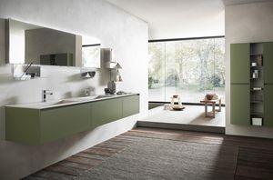 Lime 2.0 comp.17, Meubles de salle de bain avec double vasque en grès, finition mousse verte