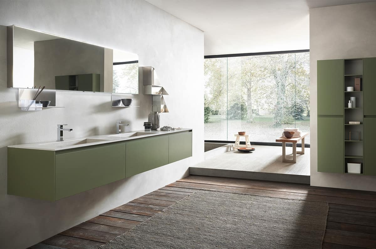 Petite Salle De Bain Avec Laveuse Secheuse ~ meubles de salle de bain avec double vasque en gr s finition mousse