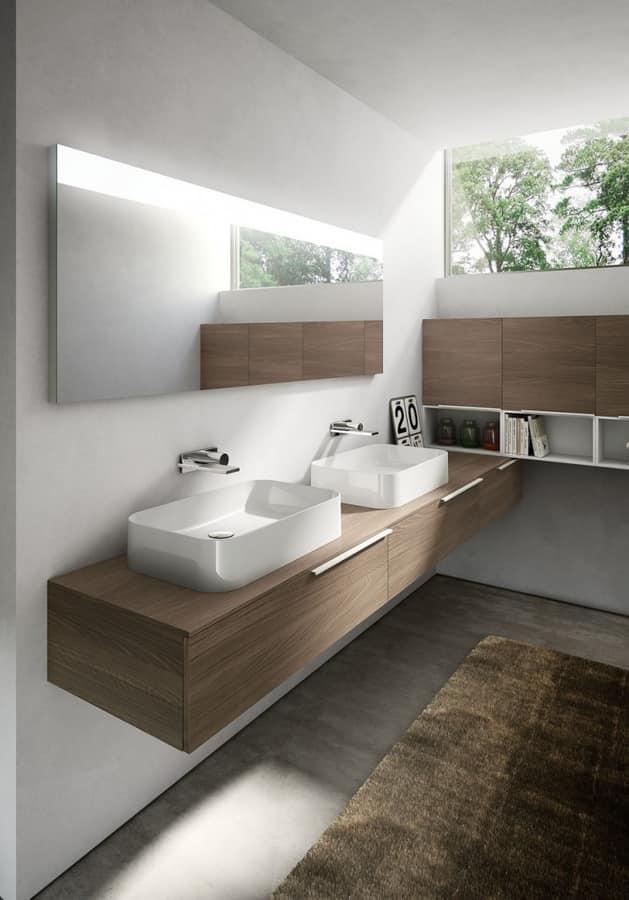 My time comp.07, Armoire de toilette avec deux vasques en céramique