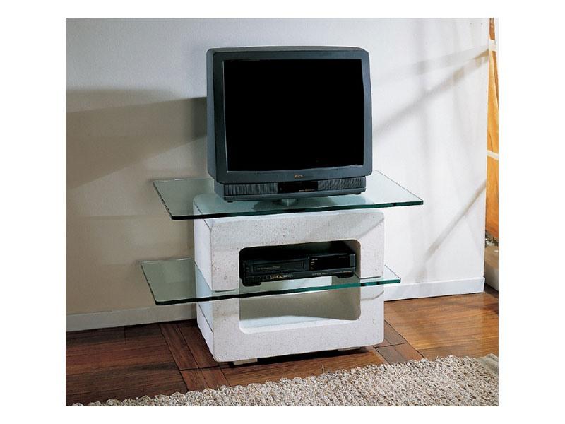 Aria small TV Unit, Meuble TV avec structure en pierre et plateaux en verre