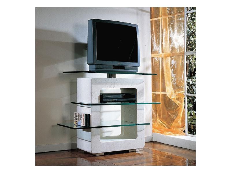 Aria TV Unit, TV-support en pierre et en verre, pour la maison
