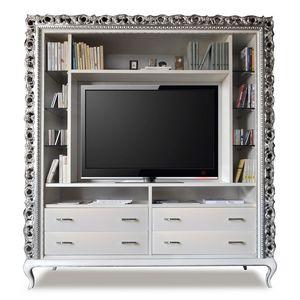 Art. 2410 Frida, Meuble tv classique, 4 tiroirs et étagères en verre