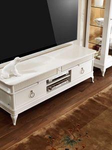 Art. CA113, Meuble de télévision, avec des tiroirs, en bois sculpté