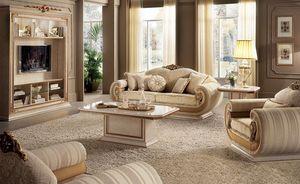 Cabinet Leonardo TV, Meuble de télévision classique de salon dans un style classique