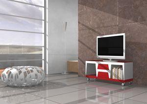Chara, TV mobile avec des roues et des tiroirs