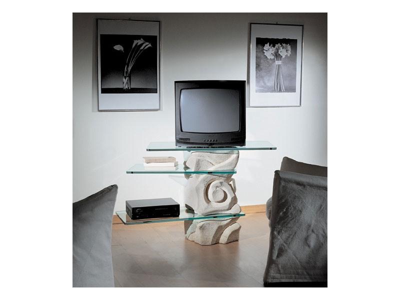Corallo TV Unit, Swivel TV-pied, en pierre avec des étagères en verre