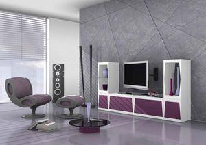 Cube, Modular meuble tv en stratifié mat