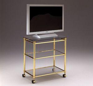 IONICA 678, Meuble TV chariot pour les salles de séjour, en laiton et cristal
