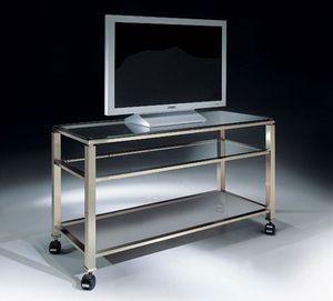 MADISON 3280, Meuble TV avec roues et plateau en verre, pour le salon moderne