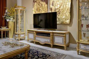 Meuble TV 1447 de style Louis XVI, Meuble télé avec incrustations géométriques