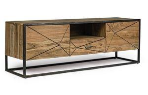 Meuble TV 2A-1C Egon, Meuble TV en bois d'acacia
