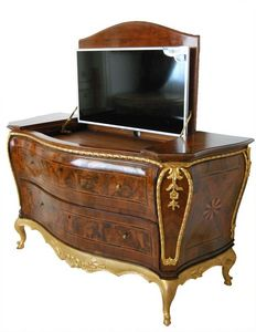 MEUBLES ART.CO 0002, Luxe commode en ronce de incrusté de conteneur de tv