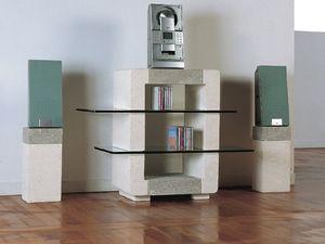 Phono CD Unit, Cabinet de pierre pour la maison, avec des �tag�res en verre