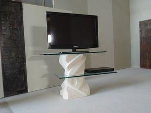 Picasso meuble TV, Meuble TV avec étagères en verre réglables