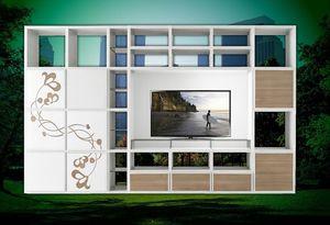 ST 61, Meuble TV avec bibliothèque et décorations florales en relief