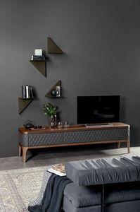 TIFFANY meuble télévision, Meuble télé en bois avec portes en cuir matelassées à la main