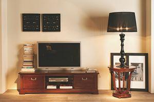 Villa Borghese meuble télévision 5378, Meuble TV avec étagère en verre trempé