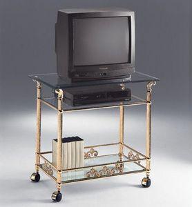 VIVALDI 1078, Armoire en laiton de télévision, avec des roues, des hôtels élégants