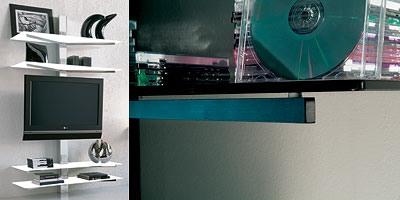 xl82 erik, TV-Stand, montage mural, avec des guides de câbles dissimulés