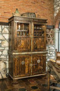 Art. 624, Armoire rustique, portes coulissantes, porte-bouteille