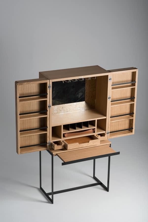 Armoire bar en bois avec verre et porte bouteille idfdesign - Ikea mobile bar ...