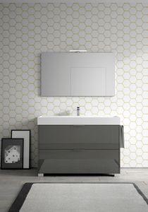 Basic comp.09, Armoire de salle de bains avec grand lavabo en céramique