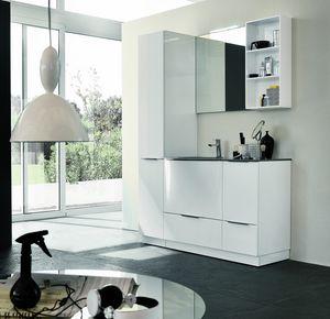 BLUES BL-18, Meuble de salle de bain blanc brillant complet