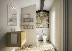 Dressy comp.04, Armoire de toilette Matte Mustard avec vasque en verre