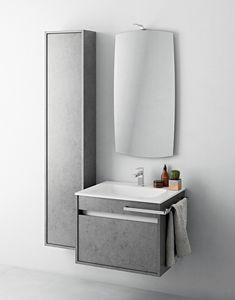Duetto comp.04, Petit meuble de salle de bain avec colonne