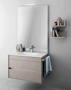 Duetto comp.08, Meubles monobloc avec miroir pour les petites salles de bains