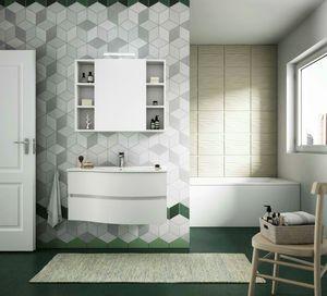 FLEX 02, Armoire de toilette suspendue avec tiroirs avec miroir