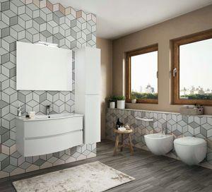 FLEX 04, Armoire de toilette suspendue avec tiroirs avec miroir