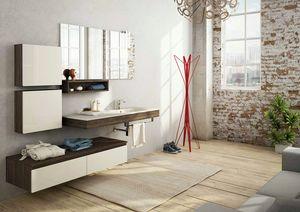 FREEDOM 18, Meuble sous-vasque mural simple en mélaminé avec miroir