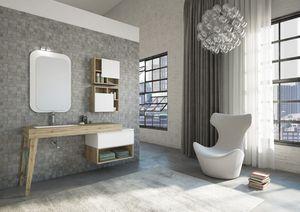 FREEDOM 21, Meuble sous-vasque HPL simple avec tiroirs avec miroir
