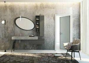 FREEDOM 24, Meuble sous-vasque simple en grès cérame avec portes avec miroir