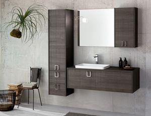Kami comp.04, Meuble de salle de bain modulable en bois foncé