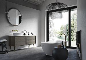 Vasque à poser Coco 035/2, Meuble de salle de bain en chêne avec dessus en marbre