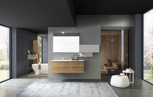 Lime 1.0 comp.02, Armoire de salle de bains avec unité de paroi supérieure rabattable