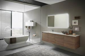 Lime 2.0 comp.15, Meuble de salle de bain fini, avec vasque en grès brillant