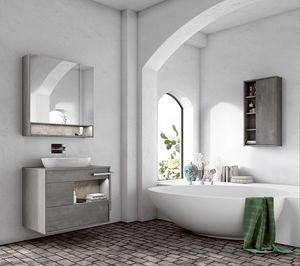Lume comp.02, Meuble pour salle de bain avec vasque ovale