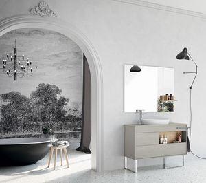 Lume comp.06, Composition pour salle de bain avec meuble sans poignée