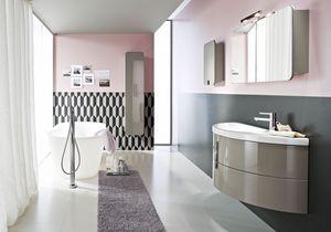 Moon comp.06, Armoire de salle de bain semi-circulaire avec grands tiroirs