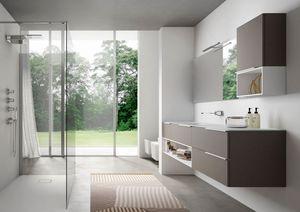 My time comp.01, Armoire de toilette contemporaine avec vasque en verre extra-cristal