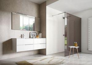 My time comp.03, Armoire de toilette laquée blanche avec deux lavabos intégrés