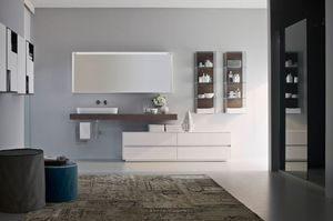 Nyù comp.08, Meubles de salle de bain modulaire, avec vasque en céramique ovale