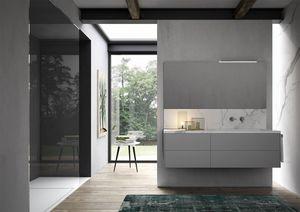 Sense comp.02, Armoire de toilette avec vasque en grès en marbre