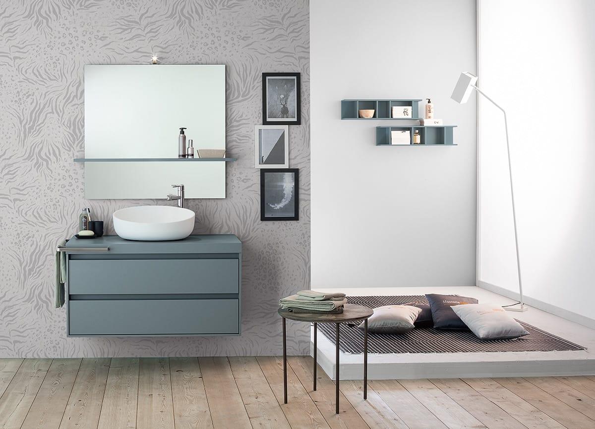Meuble pour salle de bain avec vasque poser idfdesign - Meuble salle de bain pour vasque a poser ...