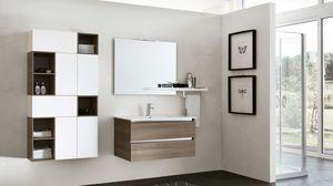 SWING SW-14, Meuble de salle de bain en orme sombre avec miroir carré